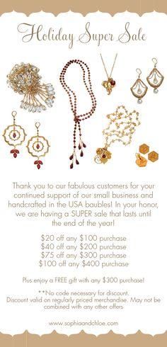 #sophiaandchloe jewelry #SALE at www.sophiaandchloe.com Plus enjoy FREE shipping and a gift with your purchase!