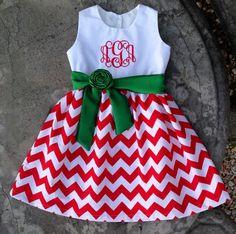 Girls Christmas Dress baby monogram red chevron by SewChristi