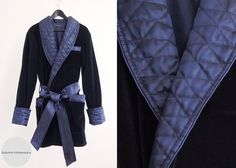 6fd5d89140 Mens Smoking Jacket Navy Blue Luxury Velvet Silk Cotton Morning Lounge Robe  short Dressing Gown Quilted