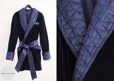 Mens Smoking Jacket Navy Blue Luxury Velvet Silk Cotton Morning Lounge Robe short Dressing Gown Quilted Shawl Custom Tailored Elegant Noble