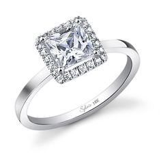 Square Diamond Halo Solitare Engagment Ring from Sylvie #SY293-0027