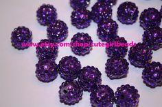 Royal Purple 18mm Rhinestone Resin Balls   by cutegirlbeads, $6.00