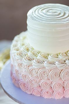 Wedding Cake Recipes - An ivory and pink floral-filled ombre Garden Terrace wedding in Las Vegas by Jennifer Steffen Photography. Bridal Shower Cakes, Baby Shower Cakes, Bridal Showers, Pretty Cakes, Beautiful Cakes, Wedding Cake Designs, Wedding Cakes, Wedding Reception Food, Wedding Blog
