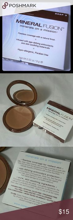 """NEW! Mineral Fusion Pressed Powder Foundation Deep (1) Mineral Fusion Pressed Powder Foundation in Deep #3  Brand new, never used.  **Don't like the price? Please make a reasonable offer**   I'm new to this app, but have been selling on eBay for 20 years, with 100% feedback, so buy with confidence! (""""hdav"""" on eBay) I'm also on Mercari : """"janeway2472""""  Please check out my other items -- over 100 in my listings. PLEASE USE THE BUNDLE OPTION!  Any questions? Please ask. Thank you for looking…"""