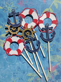 Set Of 24 Nautical Themed Party Cupcake Toppers, Nautical Bithday, Dinner Parties, Nautical Baby,Anchors,Helm,Life Preserver. $20.00, via Etsy.
