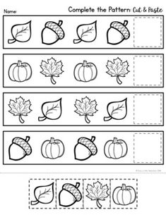 Autumn/Fall Print & Go Worksheets (Pre-K) - Preschool pattern activity Thanksgiving Worksheets, Halloween Worksheets, Thanksgiving Preschool, Pre K Worksheets, Preschool Worksheets, Fall Preschool Activities, Fall Patterns, Autumn Fall, Classroom