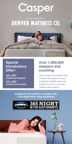 Over 1,000,000 sleepers and counting! 🌟 The outrageous comfort of Casper Mattress is now available at Denver Mattress and for a limited time save 15% on your Casper order. 🌟 Shop the Casper Original Hybrid, Nova, Nova Hybrid, Wave, and Wave Hybrid mattress sets at Denver Mattress and DenverMattress.com. #denvermattress #casper #sleep #bedinbox Casper Mattress, Mattress Sets, Comfort Mattress, Sleep Better, King Size, Bedtime, Counting, Denver, Wave