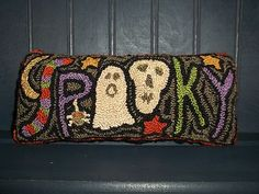Primitive Punchneedle Halloween Spider Skull Ghost Spooky Bowl Filler Star Moon