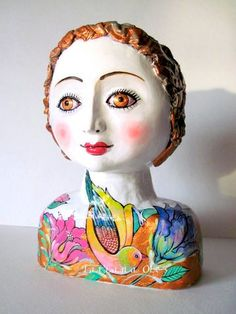 Doll vase /Sculpture /Hand made / Paper Clay/ by TatianasPottery, $180.00