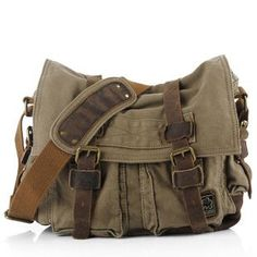 13'' Canvas Leather Messenger Bag Crossbody Bag Shoulder Bag Laptop Bag
