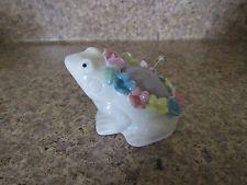 "Vintage China Porcelain Floral Frog Pin Cushion 3"""