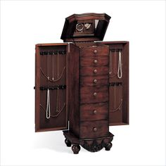 Coaster Seven Drawer Antique Jewelry Armoire in Dark Cherry - 900065 - Lowest price online on all Coaster Seven Drawer Antique Jewelry Armoire in Dark Cherry - 900065