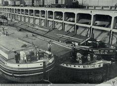 """Barki przy nabrzeżu rozładunkowym """"Portu Popowice"""". 1929"""