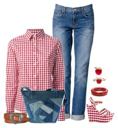 """""""Gingham Shirt and Jeans Outfit"""" by helenehrenhofer ❤ liked on Polyvore"""