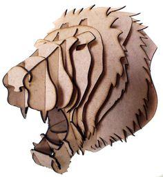 Cabeça de Leão  Escultura 3D  Decoração de parede  Cabeça de animaL  tipo troféu em MDF  toda de encaixe e de fácil montagem.  Largura 28 cm  Comprimento 30 cm  Altura 22 cm  Peso liquido 910 g