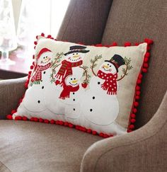 This rectangular decorative pillow features a Snowman Family of four, attired in hats, scarves, and mittens on a linen-colored background. Christmas Sewing, Christmas Projects, Christmas Crafts, Christmas Decorations, Christmas Ornaments, Christmas Snowman, Xmas, Snowman Decorations, Snowman Ornaments