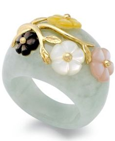 Jade or Onyx and Multicolored Mother of Pearl (8mm) Flower Ring in 14k Gold over Sterling Silver - Green