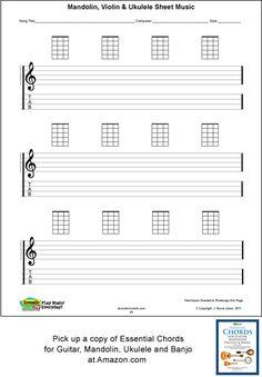 Ukulele Songs | Ukulele Blank Sheet Music, Staff, Tab, Acoustic Music TV