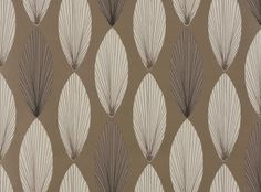 Laurus Wallcovering Nickel | Fougere Wallcoverings | Stylized Leaf Motif | Romo Fabrics | Designer Fabrics & Wallcoverings, Upholstery Fabrics