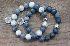 Howlite Blue Coral bracelets set jewelry Zamak by MartaDissenys