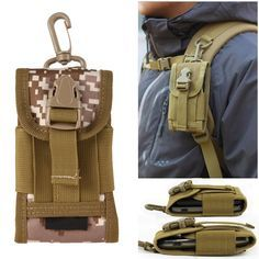 """Chinatera Mens Molle Outdoor Hunt Multifunctional Accessories Bag Sundries Bags Key Cell Phone Waist Bag Pouch Case (Digital Desert Camouflage). Molle Tactical Tech Sheath Pouch is the perfect way to carry your phone(with up to 4""""screen),music device,spare battery case,or other small http://items.It is held safely on your belt even under the most intense combat situations. The pouch is designed to mount horizontally to the user's belt,or vertically to a backpack strap,and features a hook and…"""