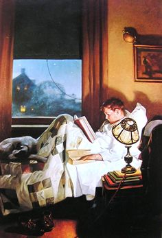 boy reading in bed painting by american artist Norman Rockwell Peintures Norman Rockwell, Norman Rockwell Art, Norman Rockwell Paintings, Reading Art, Reading In Bed, Children Reading, Reading People, Children Books, Vintage Illustration