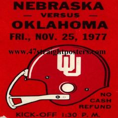1977 OU vs. Nebraska Football Ticket Coasters.™ Ceramic drink coasters printed in the U.S.A. and shipped within 24 hours. Made from over 2,000 historic college football tickets. Best last minute Father's Day gifts.