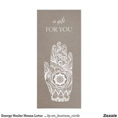 Energy Healer Henna Lotus  Gift Certificate Rack Card Template - great for massage therapists, reiki masters, spiritual healers and more.