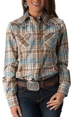Wired Heart Women's Brown and Aqua Plaid with Embroidery Long Sleeve Western Shirt