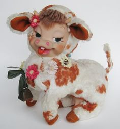 Vintage 1955 Rushton Rubber Face Cow Toy Stuffed Animal | eBay