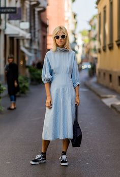 Browse the Best Street Style Outfits from Milan Fashion Week Spring 2017 at @StyleCaster | pastel dress with peasant sleeves