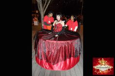 Halloween style strolling table diva by J & D Entertainment Houston, Houston human table, living table