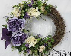 Spring wreath for front door-spring summer wreath-front door wreath-Mother's Day Wreath-year round wreath-Spring Summer Wreath-purple wreath, Mothers Day Wreath, Valentine Day Wreaths, Easter Wreaths, Christmas Wreaths, Diy Wreath, Grapevine Wreath, Wreath Making, Wreath Ideas, Wreaths For Front Door