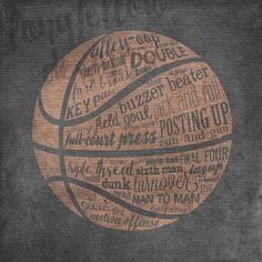Basketball Terms  Room Decor  Variety of by Longfellowdesigns