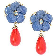 """Gems en Vogue 1.75"""" 22mm Kyanite Flower & Bamboo Coral Drop Earrings"""