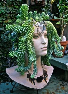 manequin head planter: