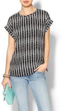 Piperlime Collection Cuffed Woven Tee