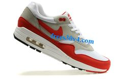 #White #Sport Red Neutral Grey Black Nike Air Max 1 Men's Shoes  #great