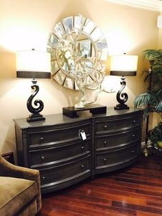 This #Swedish #Dresser from #Vanguard has an interesting shape and comes in your choice of #customfinishes! The silver #sculpture is beautifully designed by #JohnRichard. The gorgeous round #mirror is by #CenturyFurniture! Stop by today to pick up your favorite item ;) #LuxuryFurniture #LuxuryDecor #LuxuryHomes #Luxe #Luxury #Furniture #InteriorDesign #HomeDecor #Decor #HouseToHome For more information visit www.WHLuxe.com