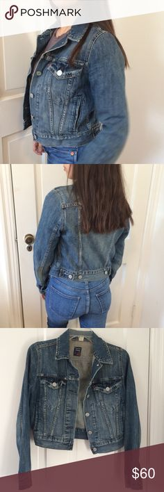 Vintage cropped Levi's denim jacket Blue washed denim jacket from Levi's size small. No visible flaws and fits sort of cropped. 100% cotton. Levi's Jackets & Coats Jean Jackets