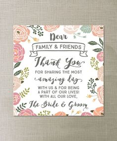 Thank You Place Card By Creativeuniondesign Wedding Reception