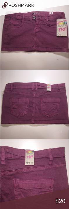 """Zara denim mini skirt Stretchable soft denim skirt. Magenta pink in color. 9.5"""" in length. Never used. Zara Skirts Mini"""