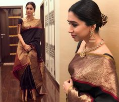 Looking for blouse design to wear with your wedding silk sarees? Here are 19 pretty blouse choices to try and make your special saree even more special. Black Saree Designs, Saree Blouse Designs, Saris Indios, Purple Saree, Bollywood Designer Sarees, Wedding Silk Saree, Simple Sarees, Saree Look, Designer Sarees