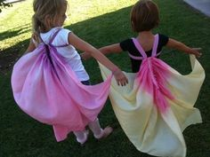 silk scarf wings. surely can come up with an easy no-sew way to do this :)