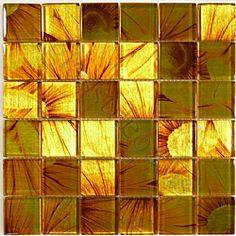 "Sunflower 2"" x 2"" Yellow Leaf Series Glossy Glass"