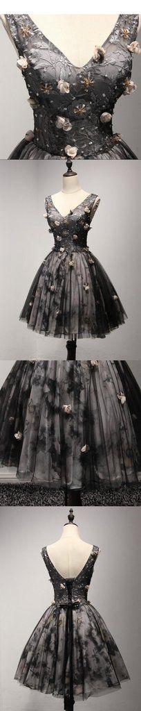 V Neckline Short Black Lace Homecoming Prom Dresses, Short Party Prom Dresses, Perfect Homecoming Dresses, CM205