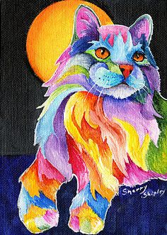 Persian Cat Art Print by Sherry Shipley by sherrysdesigns Art And Illustration, Cat Art Print, Colorful Animals, Cat Colors, Cat Drawing, Crazy Cats, Cats And Kittens, Watercolor Art, Fine Art America