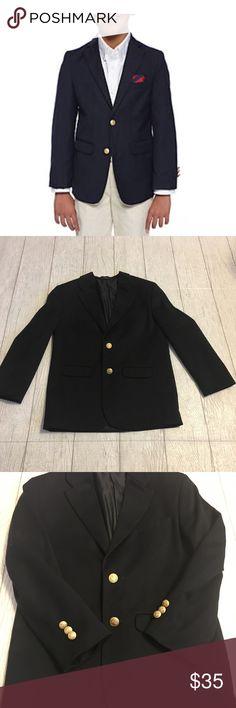 "IZOD Navy boys dress blazer size 10R IZOD boys navy blazer 10 regular. Like new. Three gold buttons on each sleeve, two gold buttons in the front. Split at the back of the blazer. Approximately 15"" from under arm to under arm and approximately 24"" from neckline stitch to bottom of blazer Izod Jackets & Coats Blazers"