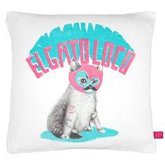 The Crazy Cat Cushion, £35.00 by LA LA LAND
