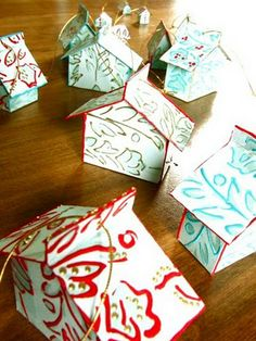 Check out these darling little tiny house ornaments made from kleenex boxes! I am bringing this as a craft project to a Holiday craft party
